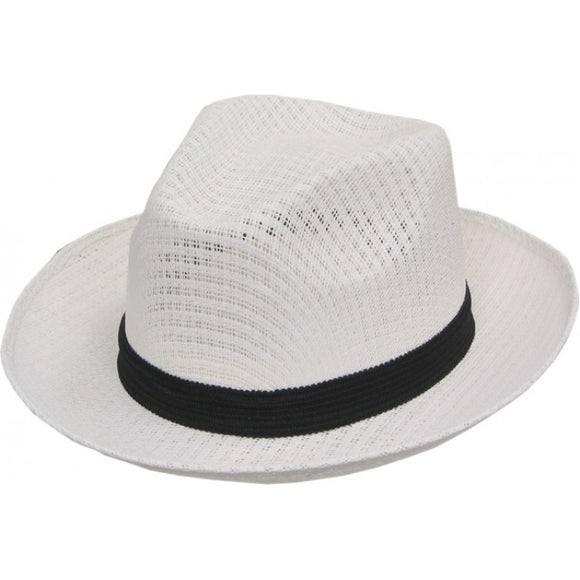 Brim Up Plain White Pachuco Panama Style Hat  2353 - Chicano Spot