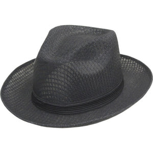 Brim Up Plain Black Pachuco Panama Style Hat with 1inch Black Band - Chicano Spot