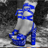 Bandana High Heels - Blue - Chicano Spot