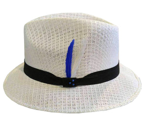 White Pachuco Straw Hat w/ Blue & White Feather Lowrider Style - Chicano Spot