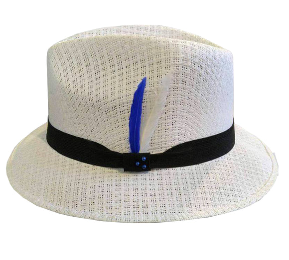White Pachuco Straw Hat w/ Blue & White Feather Lowrider Style