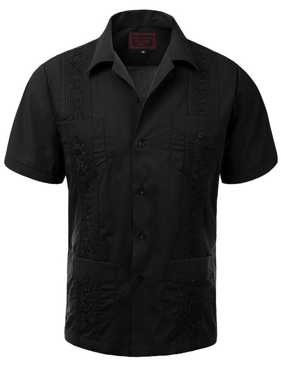 Black Guayabera Retro Button Up - Chicano Spot