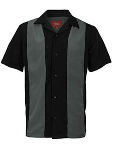 Black & Gray Striped Retro Bowler Shirts - Chicano Spot