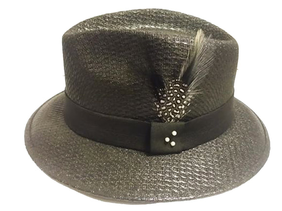 Black Pachuco w/Black Band - Black & White Stetson Feather Lowrider - Chicano Spot