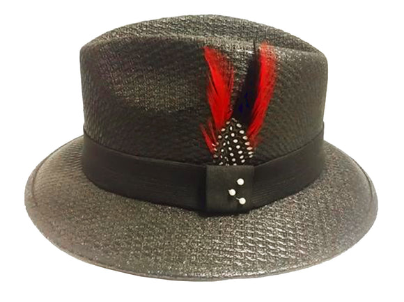 Black Pachuco w/Black Band - Red Feather Stetson Feather Lowrider - Chicano Spot