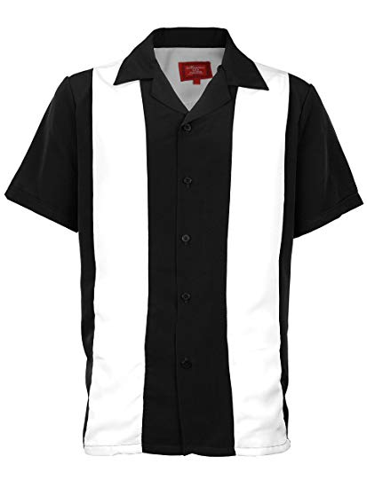 Black & White Striped Retro Bowler Shirts - Chicano Spot