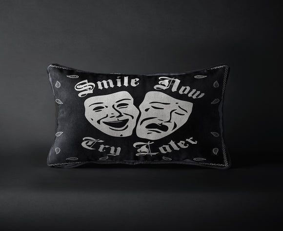 Smile Now Cry LAter Black Pillow - Chicano Spot