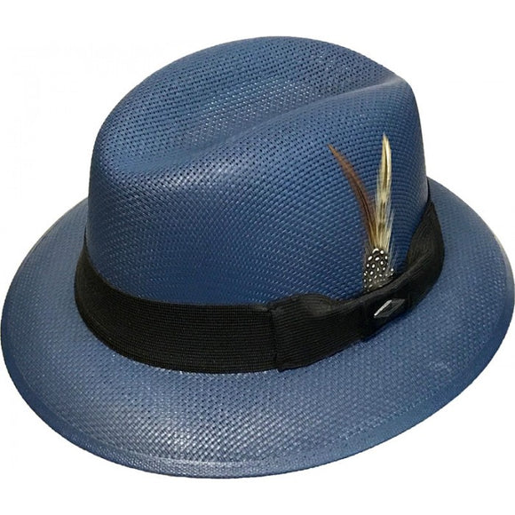 Blue Whittier Pachuco Panama Style Lowrider Hat WP22