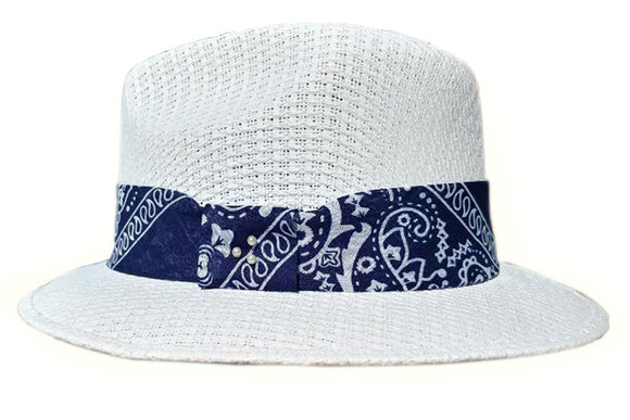 White  Pachuco Hat with Blue Bandana Print - Chicano Spot