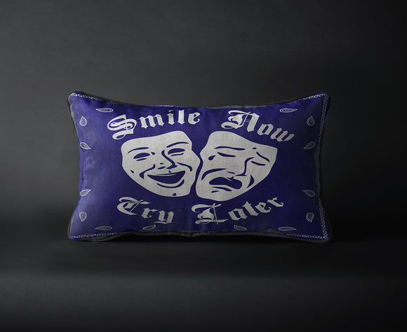 Smile Now Cry Later Blue Bandana Print - Chicano Spot