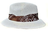 White  Pachuco Hat with Brown Bandana Print Lowrider Style - Chicano Spot