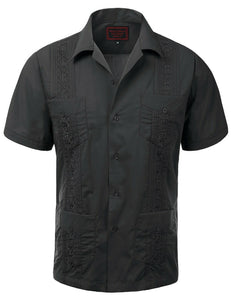 Dark Gray Guayabera Retro Button Up - Chicano Spot