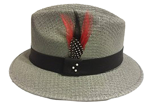 Gray Pachuco w/Black Band - Red Feather Stetson Feather Lowrider - Chicano Spot