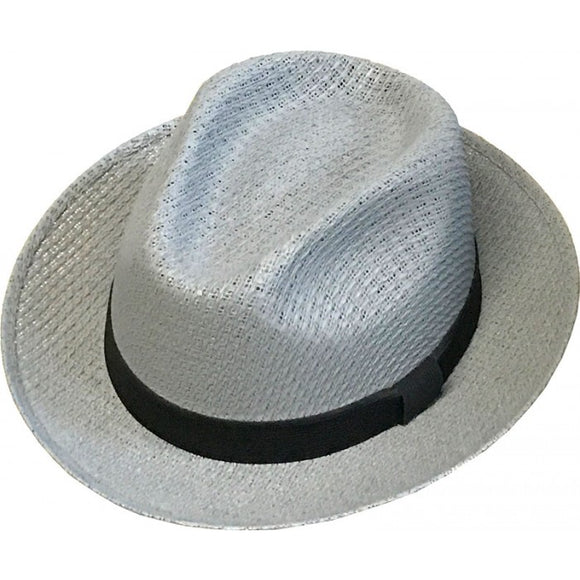 Brim Up Plain Gray Pachuco Panama Style Hat with 1inch Black Band - Chicano Spot