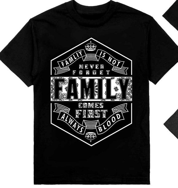 Never Forget Family Shaka Tees Tall Black Only