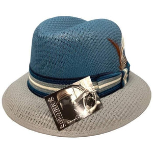 Blue and gray Danny De La Pas Style Lowrider Hat