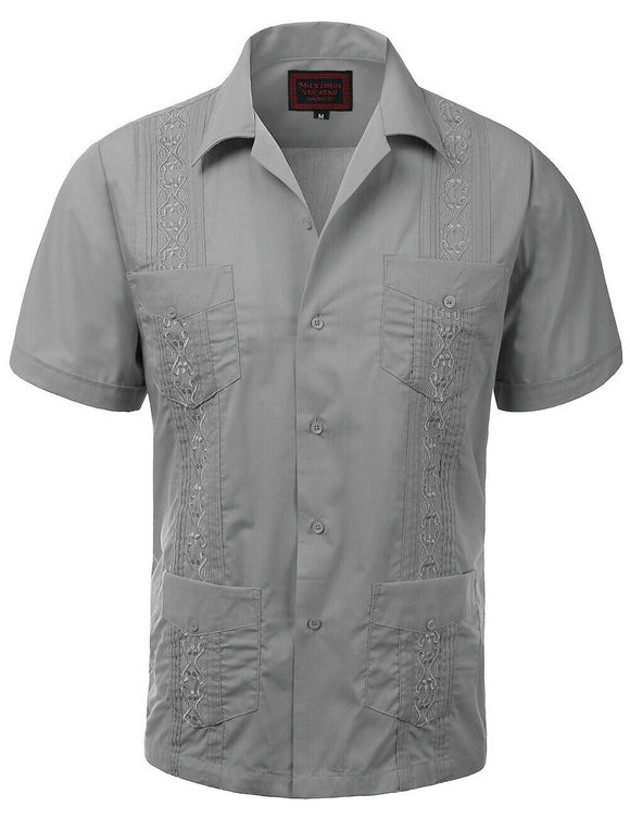 Light Gray Guayabera Retro Button Up - Chicano Spot