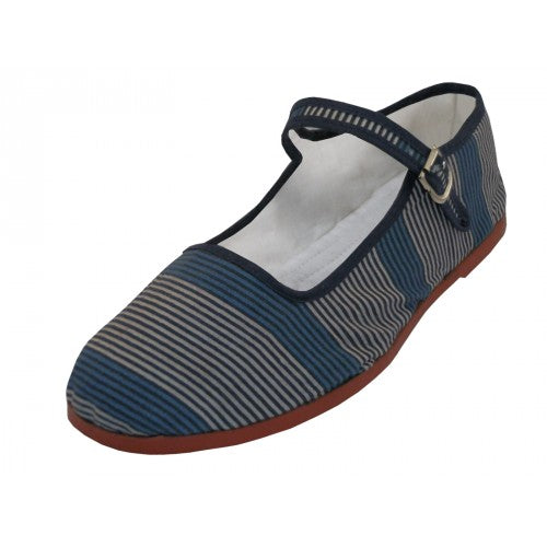 Striped Gray and Blue Mary Janes