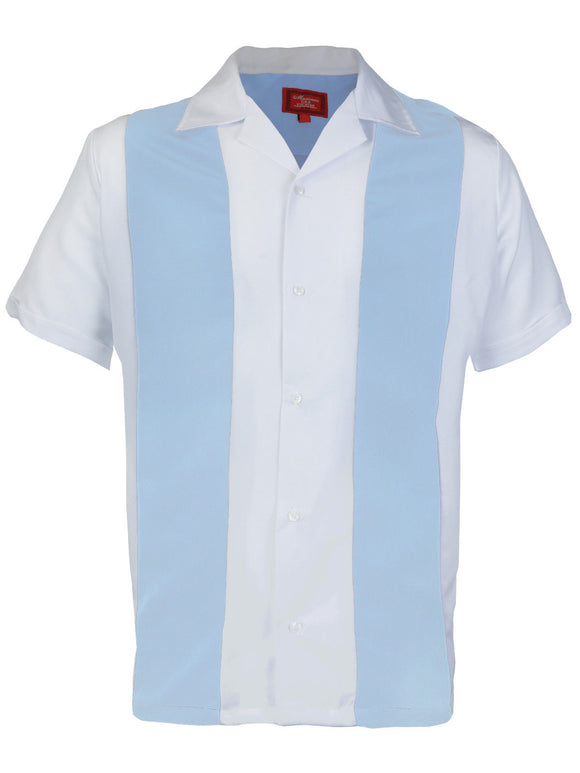 Light Blue & White Retro Bowler Shirts - Chicano Spot