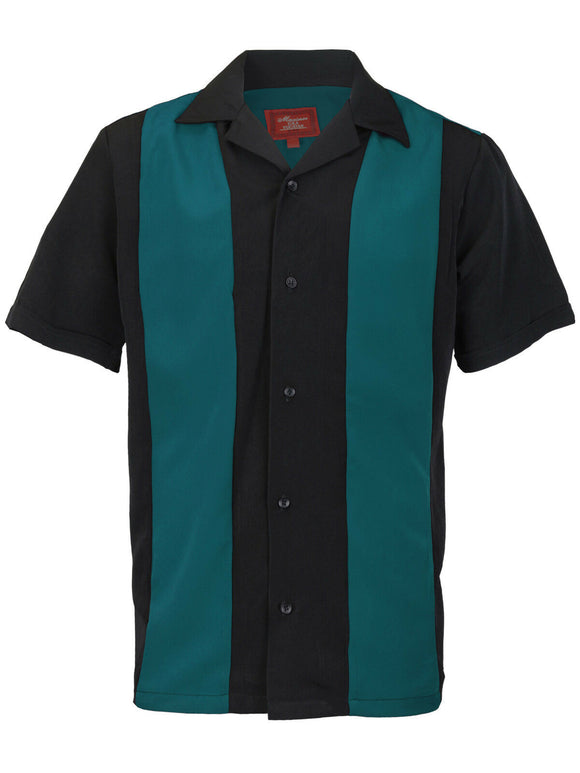 Teal & Black Retro Bowler Shirts - Chicano Spot