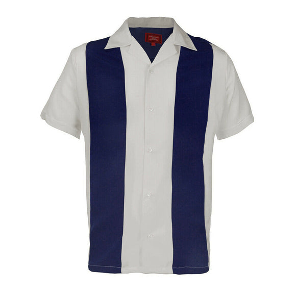 White Royal Blue Retro Bowler Shirts