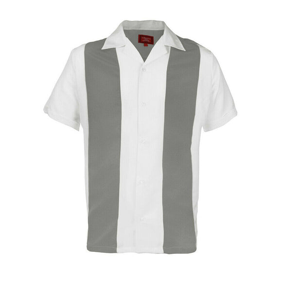 Gray & White Striped Retro Bowler Shirts - Chicano Spot