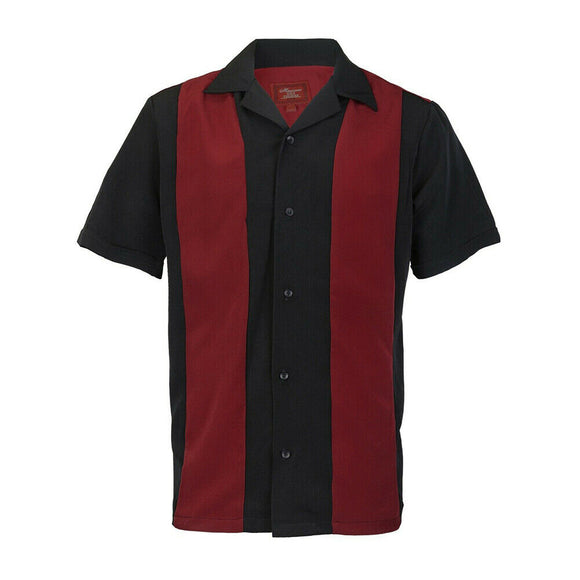 Red & Black Striped Retro Bowler Shirts - Chicano Spot