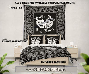 Smile Now Cry Later Blankets Black - Chicano Spot