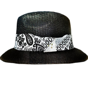 Black Pachuco Hat with White Bandana Print - Chicano Spot