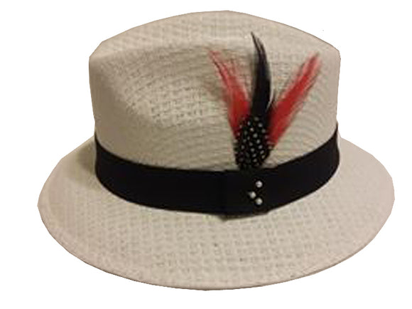 White Pachuco w/Black Band - Red Feather Stetson Feather Lowrider - Chicano Spot