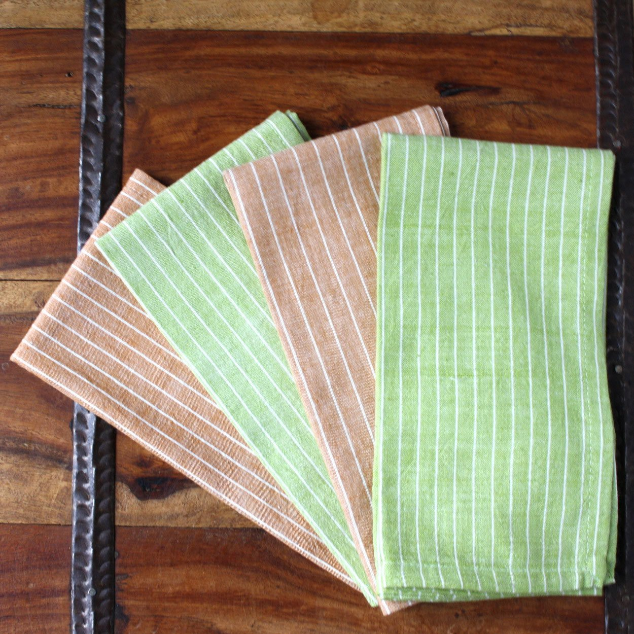 "Set of 4 Green Caramel 16"" Cotton Napkins"