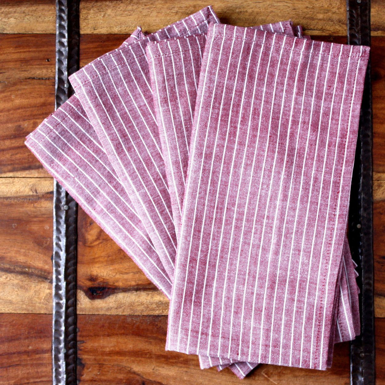 "Set of 4 Red Stripe 20"" Cotton Napkins"