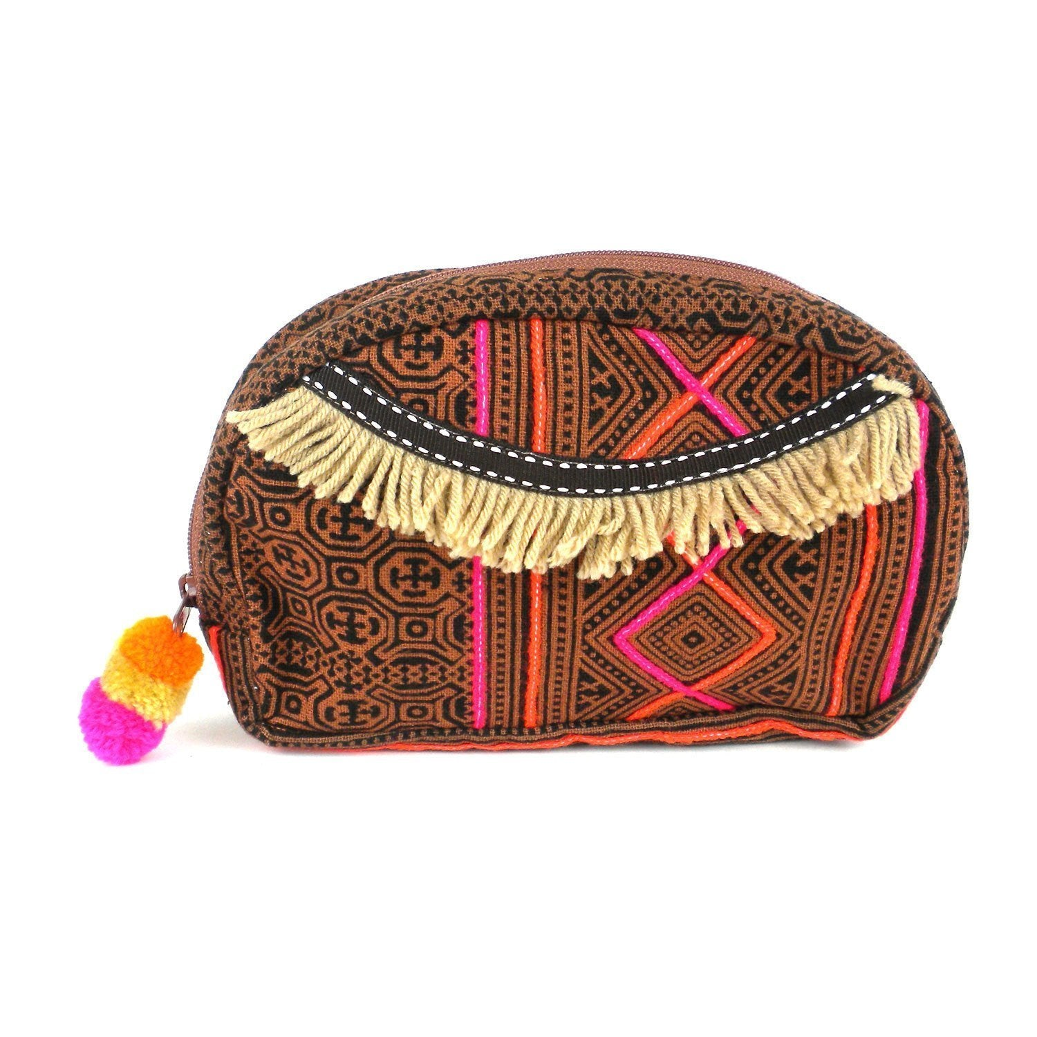Small Hmong Batik Cosmetic Bag - Earth