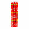 Set of 3 Hand Painted Taper Candles  in Gift Box - Red Masika Design