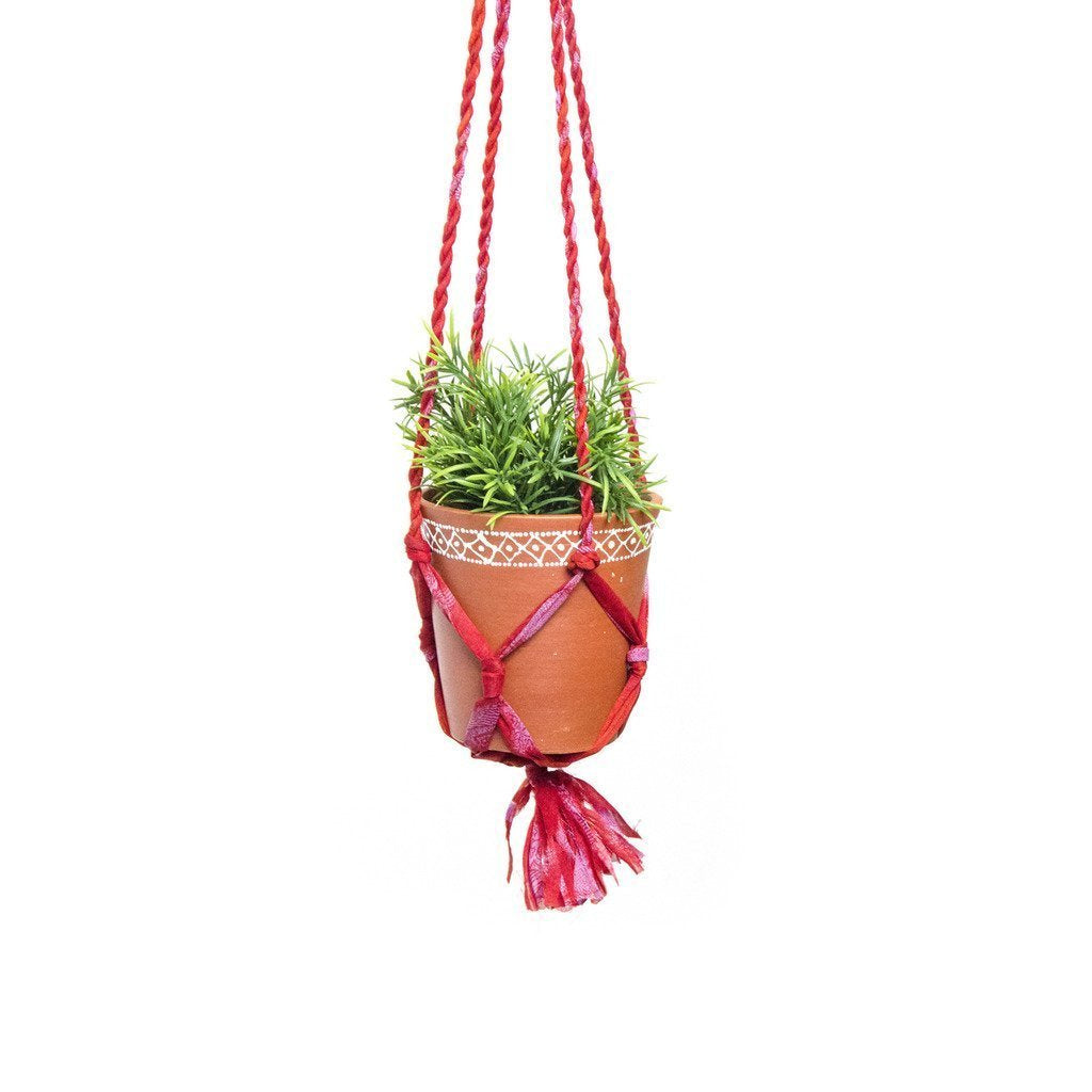 Upcycled Sari Macrame Plant Hanger and Medium Clay Planter