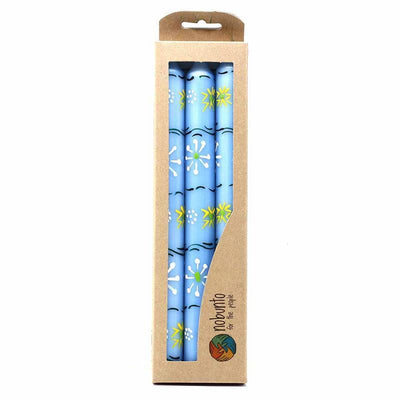 Set of 3 Hand Painted Taper Candles - Blue Masika Design