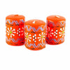 Set of 3 Hand Painted Candles in Gift Box - Orange Masika Design
