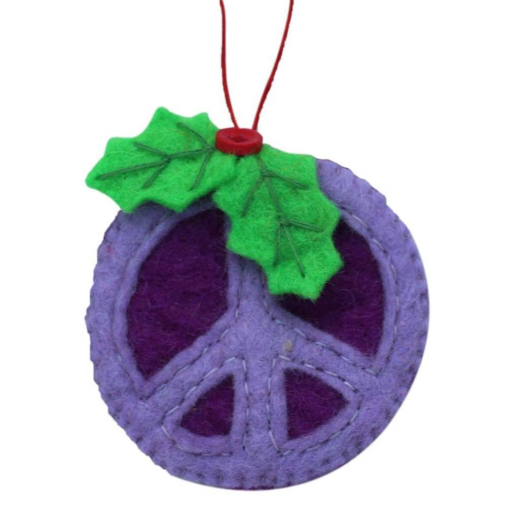 Purple Peace Sign Ornament