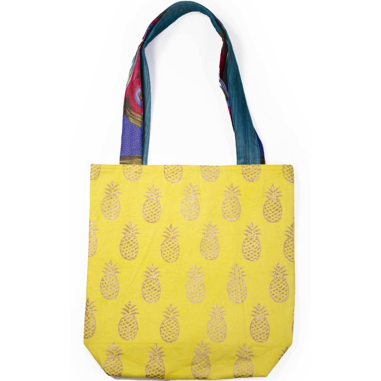 Metallic Pineapple Tote - Vibrant Yellow