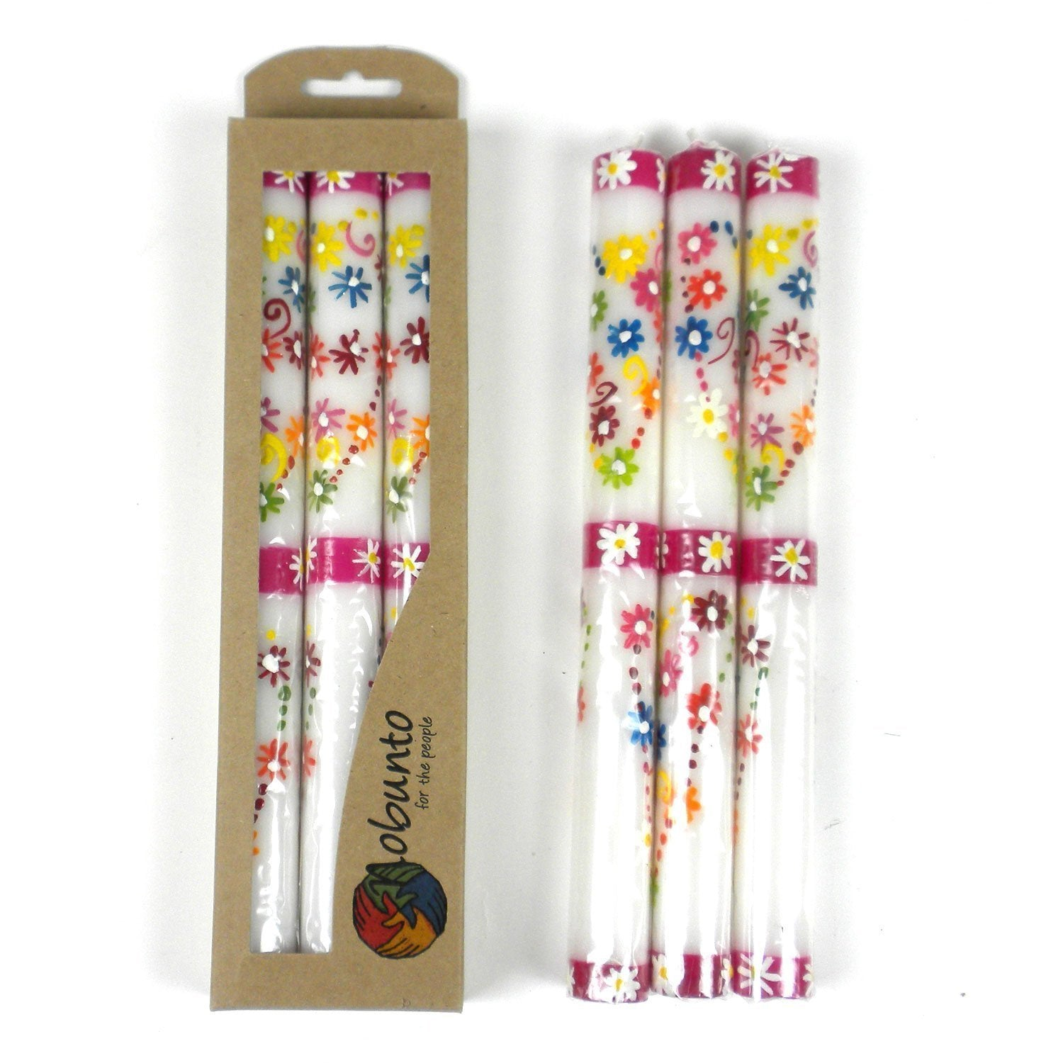 Set of 3 Hand Painted Taper Candles in Gift Box - Mamako Design