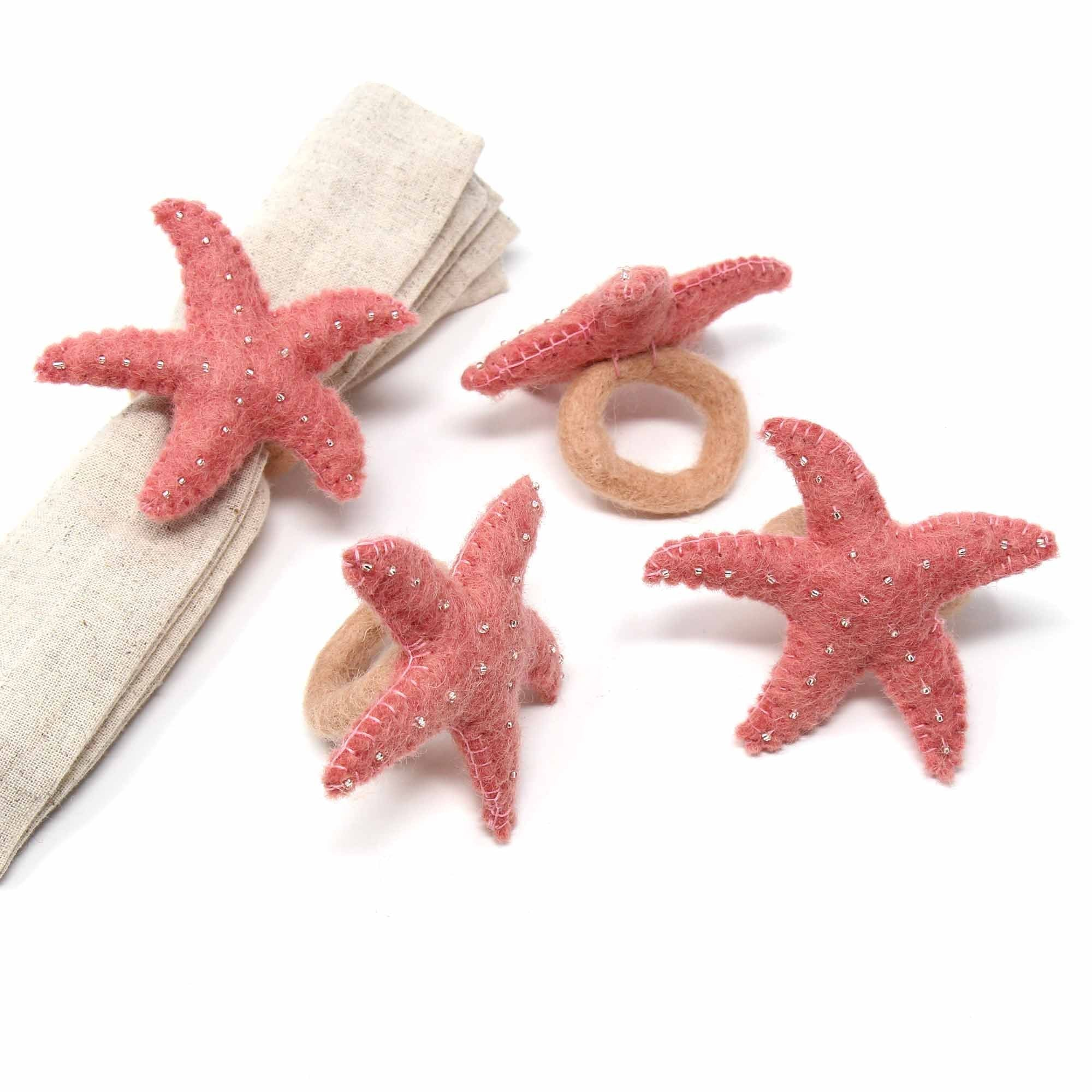 Set of 4 Hand-felted Starfish Napkin Rings - Light Rose