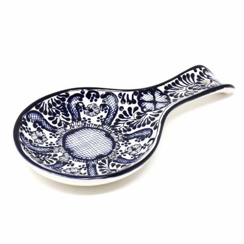 Handmade Pottery Spoon Rest - Blue Flower