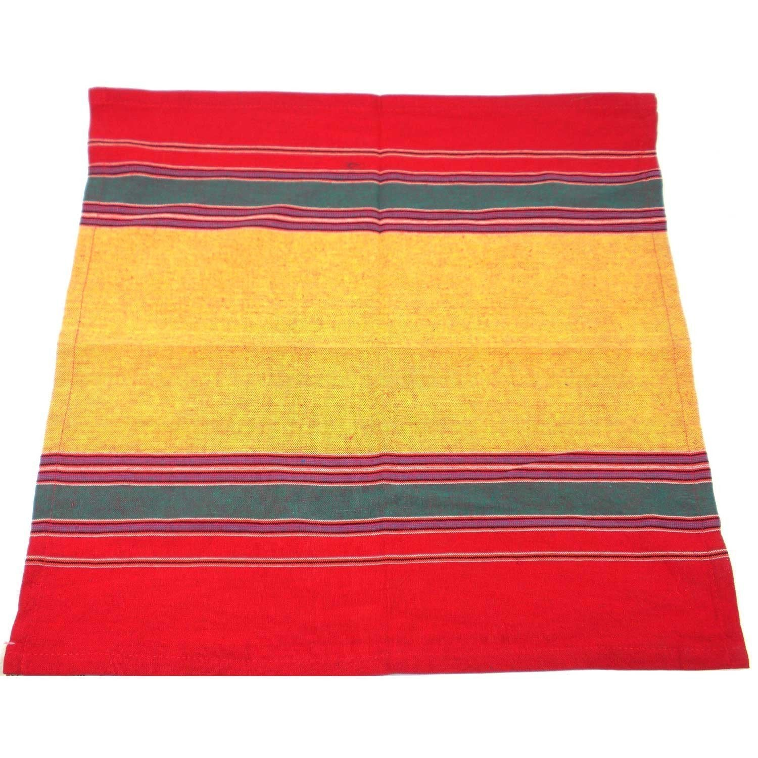 Handloomed Cotton Napkin - Yellow, Green & Red