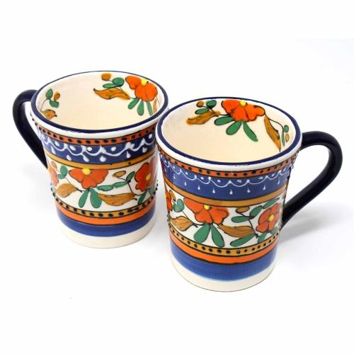 Set of 2 Flared Coffee Mugs - Orange & Blue