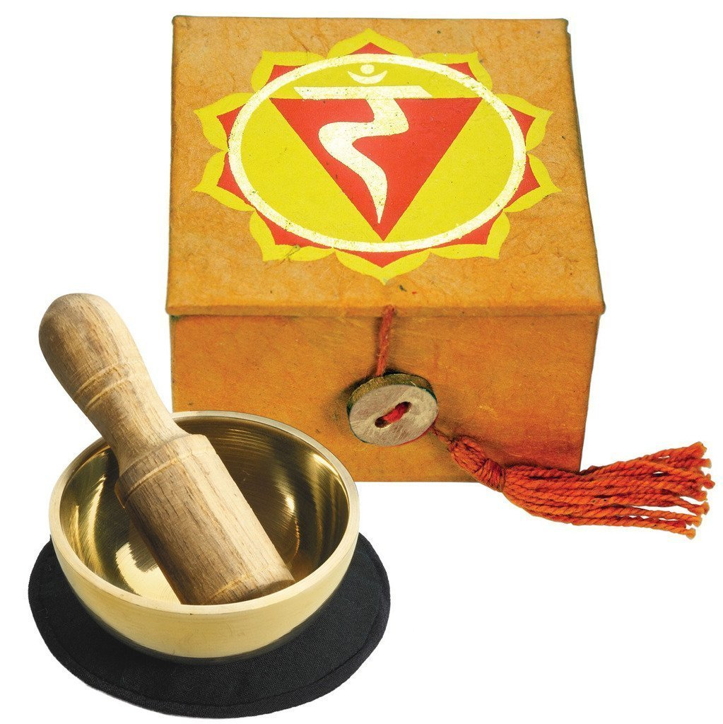 "Mini Meditation Bowl/Chime Box: 2"" Solar Plexus Chakra"