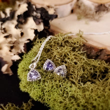Load image into Gallery viewer, Tanzanite Decorative Trillion Earrings