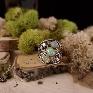 Filigree Three Stone Opal Ring