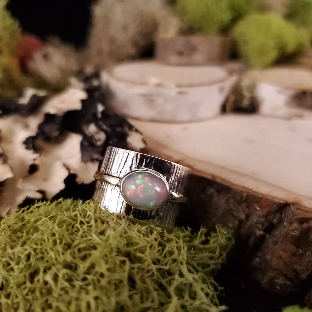 Brass Accent Artisan Opal Ring