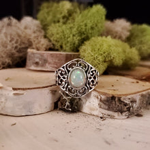 Load image into Gallery viewer, Open Filigree Opal Ring