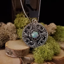 Load image into Gallery viewer, Round Filigree Opal Pendant